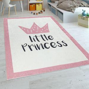 Kinderteppich Kinderzimmer Mädchen Babyteppich Waschbar Prinzessin Spruch Rosa, Grösse:80x150 cm