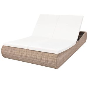 vidaXL Outdoor-Sonneninsel Poly Rattan Beige
