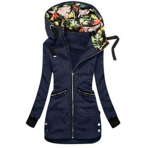 Frauen warmen Reißverschluss Blumendruck Hoodie Reißverschluss Tasche Sweatshirt Jacke Oberbekleidung Größe:XXL,Farbe:Navy
