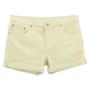 21886 Levis, Levis 501,  Damen kurze Jeans Shorts Bermudas, Denim ohne Stretch, cremeweiss vintage, W 30