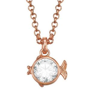 Esprit Damen Collier Fische esprit-JW50064 Rose Metall Zirkonia 45 cm