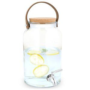 Navaris Getränkespender 5,6 Liter aus Glas - mit Zapfhahn aus Edelstahl und Kork Deckel - Wasserspender Glasbehälter für kalte Getränke