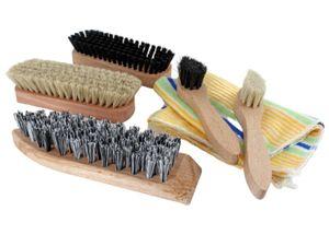7-tlg. Schuhputz Set Schuh Bürsten Schuhpflege Poliertuch Glanzbürste mit Tasche