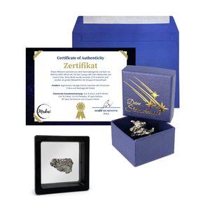 Makai Campo del Cielo Meteorit Sternschnuppe Eisenmeteorit 15 Gramm mit Schweberahmen Echtheitszertifikat Schachtel zum Verschenken und Ausstellen