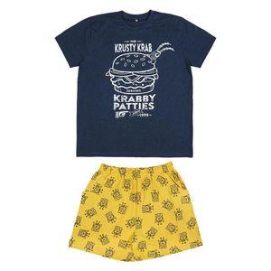 Sommer-Schlafanzug Spongebob Blau Gelb XXL