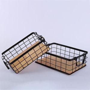 Rechteckige Küchenablage Mit Zwei Ohren Eisenkorb Holzboden Obstkorb S. Diamant-Schwarz Aufbewahrungskorb