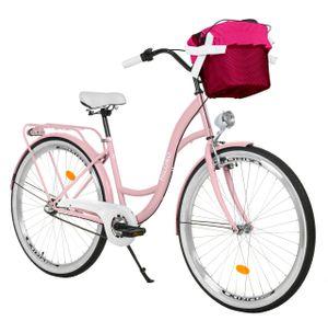 Milord Komfort Stadtfahrrad Fahrrad mit Korb Damenfahrrad, 28 Zoll, Rosa, 3-Gang