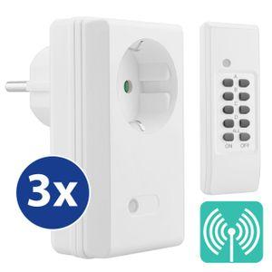mumbi 4-Kanal 1100 Watt Funksteckdosen Set FS300: 3x Funksteckdose und 1x Fernbedienung - Plug & Play Funkschalt Set