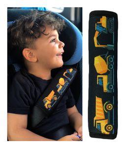 1x HECKBO Auto Gurtschutz Sicherheitsgurt Schulterpolster Schulterkissen Gurtschoner Autositze Gurtpolster für Kinder, Jungen/Jungs mit Baufahrzeuge, Bagger