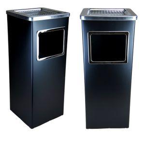 2x BAYLI Standaschenbecher mit Inneneimer    61,5 x 23 x 23 cm Standascher mit Abfalleimer für draußen und drinnen   Mülleimer für Außenbereich   rechteckiger Aschenbecher freistehend   Farbe schwarz