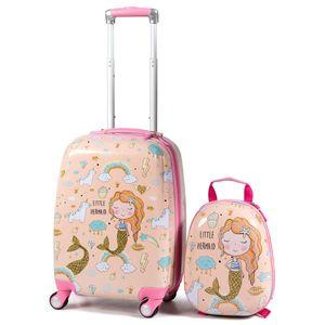 COSTWAY Kindergepaeck Kindertrolley, Kinderkoffer mit Rucksack, Reisekoffer Jungen, Handgepaeck Reisegepaeck Pink