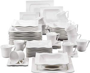 MALACASA, Serie Mario, 60 tlg. Cremeweiß Porzellan Geschirrset Tafelservice mit je 12 Kaffeetassen, 12 Untertassen, 12 Dessertteller, 12 Suppenteller und 12 Speiseteller