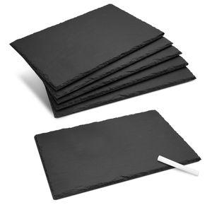 Navaris Schiefer Teller Platzset 6-teilig inkl. Kreide - 30x20cm Schieferplatten 6x Servierplatte für Sushi Käse - Schieferplatte eckig in Anthrazit