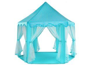 Zelt Kinder Burg Prinzessinnen 3 Farben Palast Vorhänge Verzierungen Stehhöhe 89cm 6104, Farbe:Blau/ blue