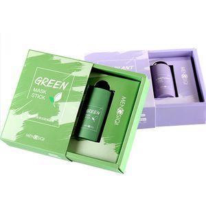 2 Stück/Set Grüner Tee Purifying Clay Stick Mask Ölkontrolle Anti-Akne-Aubergine Fest Fein, Befeuchtet und kontrolliert das Öl, Akne-Clearing, Mitesserentferner, Verbessert die Textur der Haut