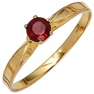 JOBO Damen Ring 585 Gold Gelbgold 1 Granat rot Goldring Größe 60