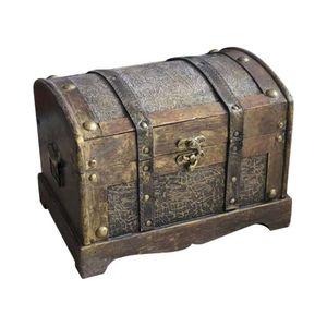 Mllaid Retro Holz Piratenschatz Schmuck Aufbewahrungsbox Holz Geschenkbox Trinket Schmuck Aufbewahrungsbox Schatzkiste Dekor ohne Schloss Größe S