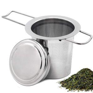 Teesieb Teefilter und Deckel/Abtropfschale,Extra feines Teefilter,für jeden Losen Tee und alle Tee-Blätter,Faltbare Griffgestaltung Passend für die Meisten Tee-Tassen und Tee-Schalen