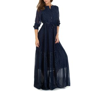 Ital-Design Damen Kleider Maxikleider Dunkelblau Gr.s/M