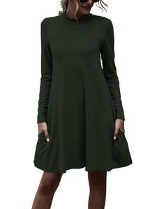 Damen High Collar Langarm Kleid Frauen Herbst Winter Solid Pocket Kleider Jerseykleider,Farbe:Grün,Größe:XL
