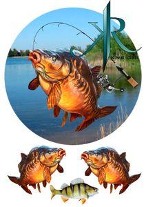 Fishing, Angler, Fisch, Karpfen,Haken. Tortenaufleger,Geburtstag,Tortendeko,