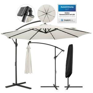 AREBOS Sonnenschirm Luxus mit LED Beleuchtung Ampelschirm Ø3m Farbe Creme - direkt vom Hersteller
