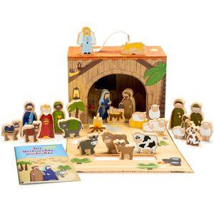 Corasol Spielkrippe mit Holzfiguren für Kinder in hochwertigem Aufbewahrungs-Koffer mit Weihnachts-Geschichte, mehrfarbig, 26-teilig (1 Set)