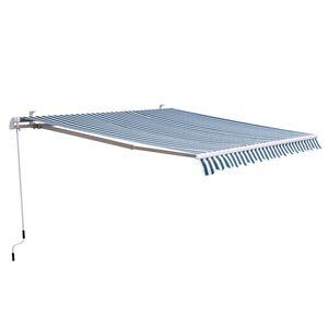 Outsunny Markise Gelenkarmmarkise Sonnenschutz Balkon Grün-weiß 3x2,5m