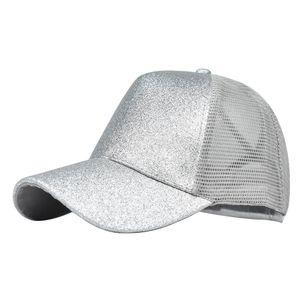 Damen Sommer Anti UV Mesh Pferdeschwanz Hut Verstellbare Outdoor Sport Baseball Cap, Farbe: Silber