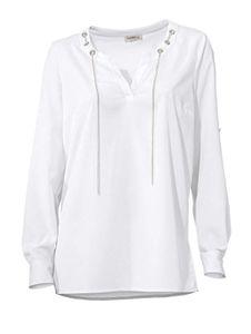 Ashley Brooke Damen Designer-Longbluse, weiß, Größe:50