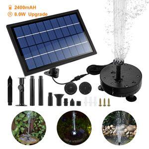 Speed 8W Wasserspiel Springbrunnen Solar Pumpe  Mit LED-Licht und 2400mAH Batterie 200L/H