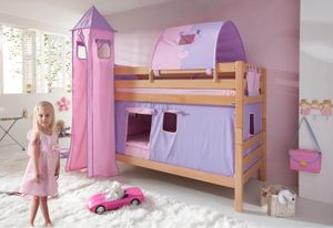 Relita Etagenbett BENI Buche massiv natur lackiert mit Textilset purple/rosa/herz, BE3001114-B90+TX5042039+TX5072039+TX5182039+TX5032039