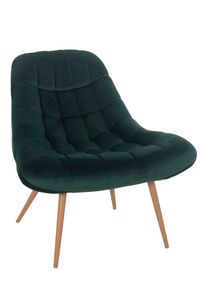 SalesFever Loungesessel mit XXL-Sitzfläche | Bezug Stoff in Samt-Optik | Gestell Metall in Holzoptik | üppige Steppung | B 76 x T 87 x H 86 cm | grün