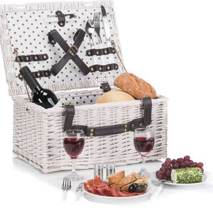 Goods & Gadgets Weidenkorb,Picknickkorb,Picknick Geschirr, Besteck,Korkenzieher
