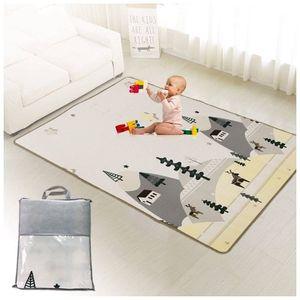 Doppelseitige Baby Lernmatte Spielmatte - Faltbare Schaumstoffmatte - Krabbeldecke inkl. Tasche 120 x 180 cm x 0,5 cm Spielteppich