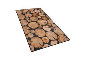 Teppich braun Holzoptik 80 x 150 cm Kurzflor KARDERE
