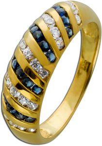 Blauer Edelstein Ring Saphiren Gelbgold 333/- weißen Zirkonia Damenschmuck 16