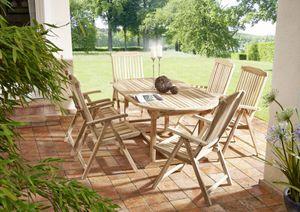 Teak Gartenmöbel Set 7tlg. Tisch oval 180 cm 6 Hochlehner ARUBA