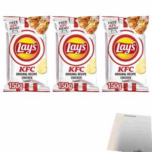 Lays KFC Original Recipe Chicken Flavour Kartoffelchips 3er Pack (3x150g Beutel) + usy Block