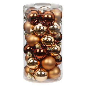 Weihnachtskugeln Glas 4cm, 30 Stück, Farbe:Winter Toffee ( braun )
