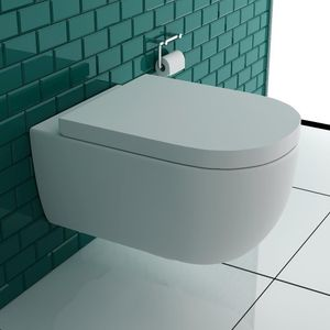 Alpenberger Hochwertiges Spülrandloses Hänge WC inkl.Sitz I Toilette aus Keramik mit Antibakterieller Oberfläche Nano Beschichtung I Abnehmbarer WC Sitz mit Absenkautomatik