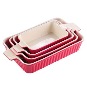 MALACASA, Serie Bake.Bake, 4er Set Porzellan Backform Kuchenform Brotbackform Back Schäle Auflaufform Ofenform Teller Suppenteller in 4 Größe Rot