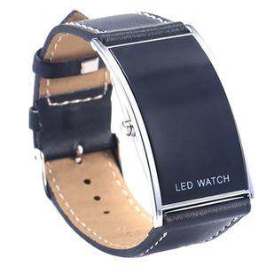 Men's Women' s LED Digital Datum Rechteck Zifferblatt Kunstlederarmband Armbanduhr