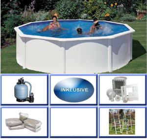 GRE Stahlwandbecken Set Fidji rund ø 3,00m x 1,20m Super Komplettset Pool Rundpool / 300 x 120 cm Stahlwandpool Rundbecken Poolset