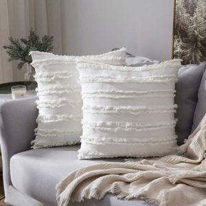 2er Set Dekorative Kissenbezug mit Tassel Fransen Dekokissen Boho Super Weich Kissenbezüge Quaste Decor Kissenhülle für Sofa Couch Schlafzimmer Wohnzimmer Auto 18X18inch 45x45cm Weiß