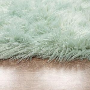 Kunstfell Fellteppich Imitat Sitzkissen Herzform Rund Verschiedene Formen, Grün, Grösse:90 cm Rund