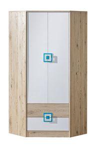 Kinderzimmer - Drehtürenschrank / Eckkleiderschrank Fabian 02, Farbe: Eiche Hellbraun / Weiß / Blau - 190 x 87 x 87 cm (H x B x T)