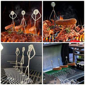 3er-Set Stahlgrill Grillwürste Hot Dogs Grill Wurst Halter