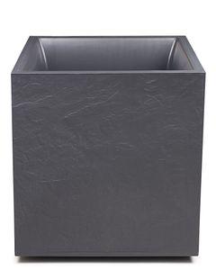 Pflanzkübel Vulkan Pierre, aus Kunststoff, Maße ca. 39 x 39 x 43 (H) cm, Pflanzvolumen ca. 35 L, frostsicher, UV- und witterungsbeständig