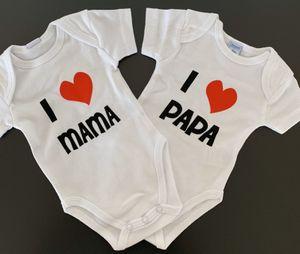 Baby Body 2er Set Kurzarm I love Mama + I love Papa Gr. 62 (bis 3 Monate)